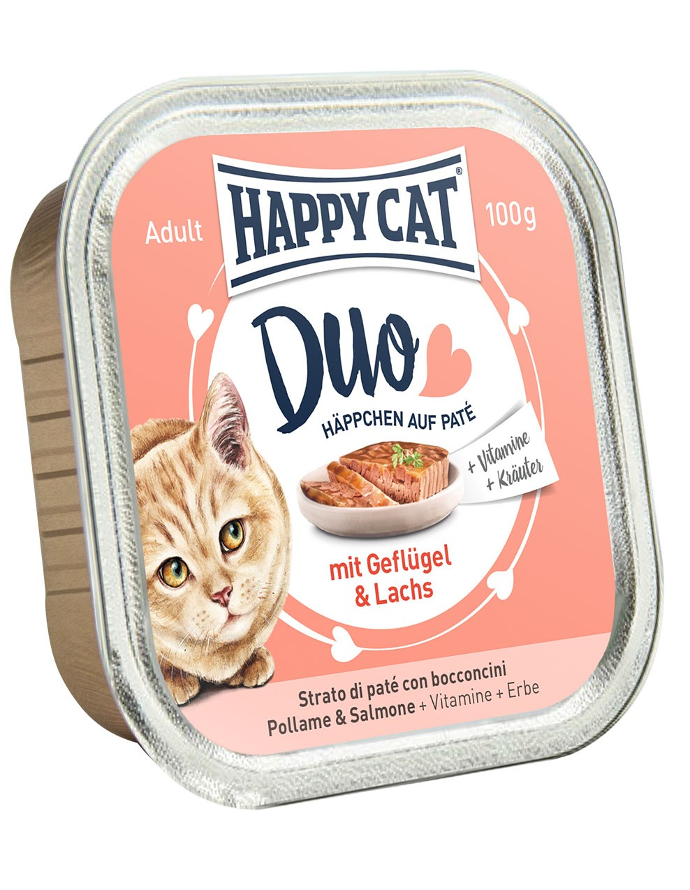 Duo Menu - Geflügel & Lachs (12x100g) - Happycat