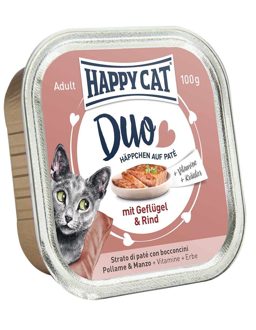 Duo Menu - Geflügel & Rind (12x100g) - Happycat