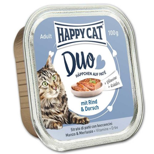 Duo Menu - Rind & Dorsch (12x100g) - Happycat
